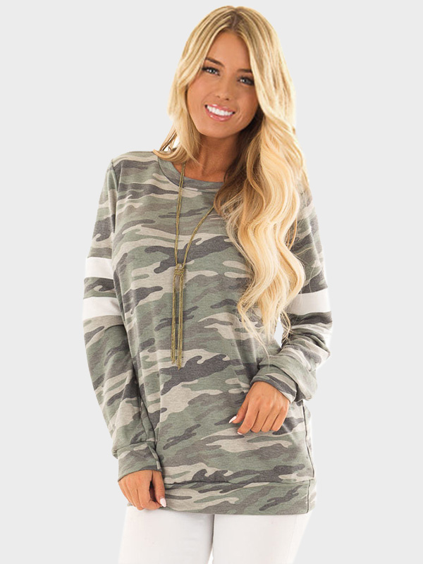Dresswel Women Round Neck Long Sleeves Loose Casual Camouflage Blouse Tops