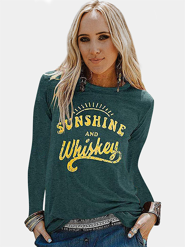Dresswel Women Sunshine and Whiskey Letter Graphic Pullover Casual Shirt Blouse Tops