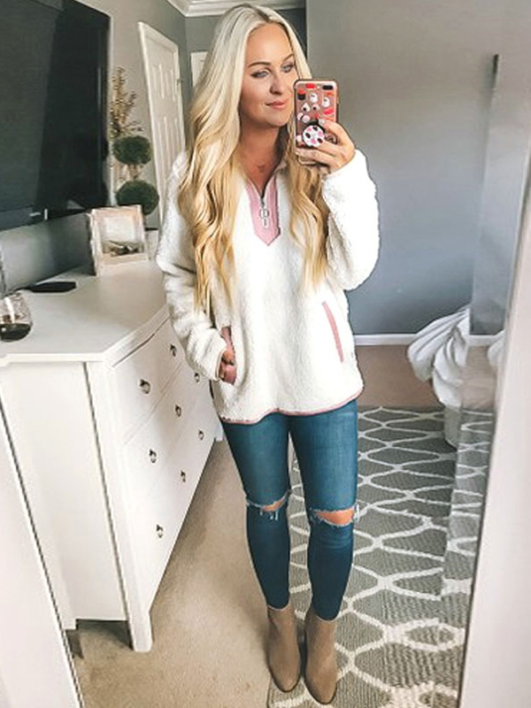 Dresswel Women Lapel Collar Solid Color Casual Pullover Fuzzy Tops
