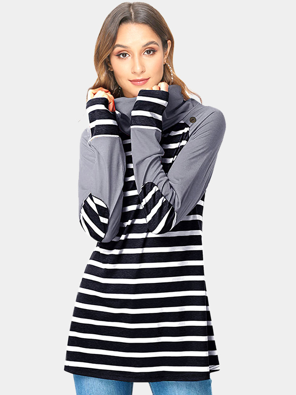 Dresswel Women Cowl Neck Striped Stitching Color Block Blouse Tops