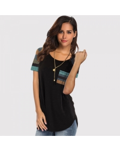 Womem Round Neck Striped Stitching Short Sleeves Pocket Decor Color Block T-Shirt Casual Tunic Tops