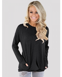 Dresswel Women's Solid Color Front Pocket Pullover Round Neck Long Sleeve Casual Top