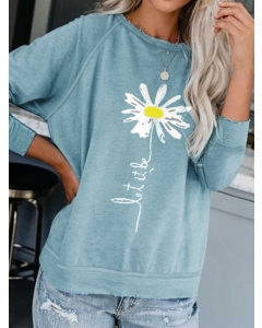 Dresswel Women Let It Be Letter Flower Printed Crew Neck Long Sleeve Casual Sweatshirts Fashion Pullover
