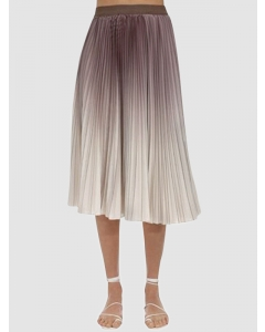 Dresswel Women Elastic High Waist Irregular Hem Gradient Pleated A-Line Midi Skirt Bottoms