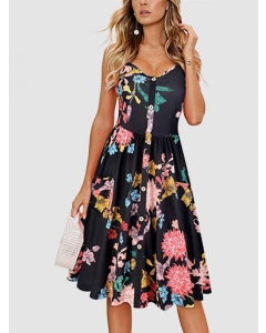 Dresswel Women Floral Printed V Neck Sling Slim Casual Dress with Pockets Beach Fashion Midi Dress