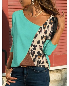Women Leopard Print Patchwork Tee Shirts Colorblock Long Sleeve Casual Tops Blouse
