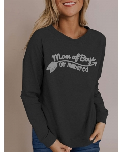 Women Mom Of Boys Letter Print Long Sleeve T-Shirt Crew Neck Loose Casual Tops