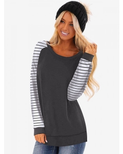 Women Stripes Colorblock Crew Neck Blouse Long Sleeve Casual Loose Fit Tops