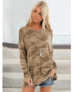 Women Camouflage Pullover Long Sleeve Shirts Crew Neck Loose Fit Tunic Tops