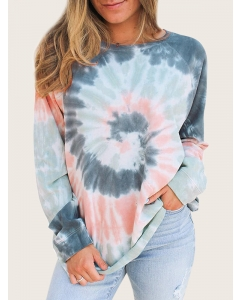 Women Tie Dye Printed Color Block Shirts Crewneck Pullover Blouse Tops