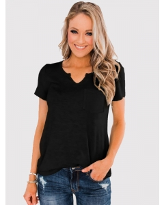 Women Solid Color V Neck Short Sleeve T-Shirt with Pocket Casual Loose Tops