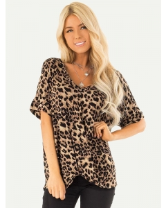 Dresswel Women Leopard Printed Short Sleeves Tees Twisted Casual Summer T-shirts Tops