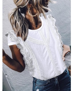 Women Solid Color Crochet Round Neck Short Sleeve T-shirt Loose Fit Tops