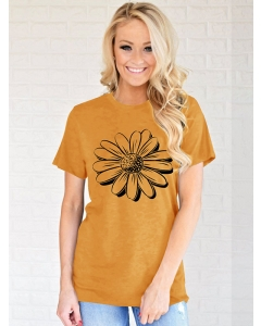 Lunawe Women Flower Graphic Printed Crew Neck Tees Casual Simple T-Shirt Tops