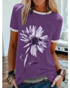Dresswel Women Floral Printed Round Neck Short Sleeves White-trimmed T-shirt Tops