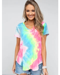 Dresswel Women Tie-Dyed Printed Short Sleeve V Neck T-Casual Fashion T-Shirts Tops
