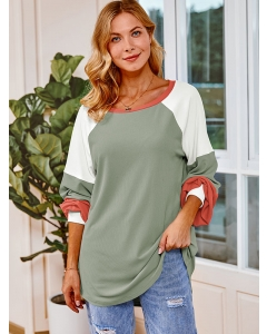 Women Round Neck Color Block Lantern Sleeve Blouse Pullover Fashion Shirts Tops