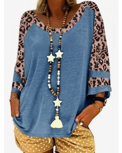 Women Leopard Colorblock Crew Neck 3/4 Sleeve T-Shirt Casual Loose Blouse Tops