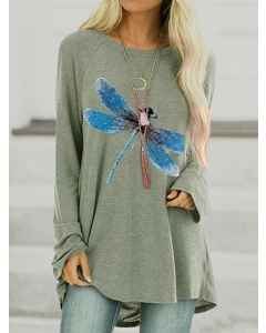 Dresswel Women Blue Dragonfly Graphic Print Round Neck Long Sleeves Tunics Tops