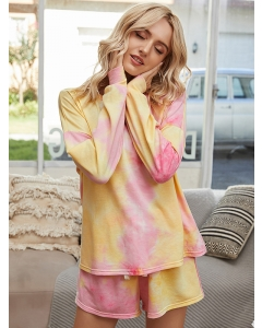 Dresswel Women Tie Dyed Printed Crew Neck Long Sleeve Tees Shorts Loungewear Set