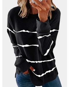 Dresswel Women Tie Dye Printed Stripe Long Sleeve Sporty Pullover Sweatshirt Top