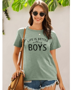 Dresswel Women Life is Better with My Boys Letter Print Basic Casual Tees Tops