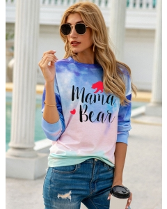 Dresswel Women Mama Bear Heart Bear Print Tie Dye Long Sleeve Blouse Tops