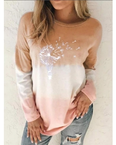 Dresswel Women Dandelion Pattern Gradient Long Sleeve Color Block Blouse Tops