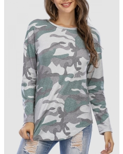 Dresswel Women Camouflage Print Long-sleeved Pullover Crew Neck Fashion T-shirt Tops