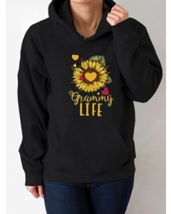 Dresswel Women Grammy Life Sunflower Heart Pattern Sweatshirts Hoodies Tops