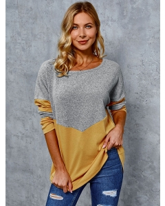 Dresswel Women Round Neck Colorblock T Shirts Casual Long Sleeve Blouse Tops