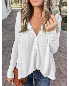 Dresswel Women Solid Color Buttons Pleated V-Neckline Long Sleeve Blouse Tops