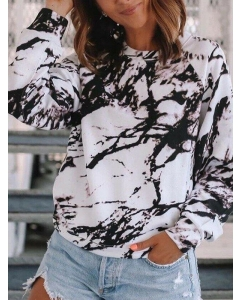 Dresswel Women Tie Dye Printed Crew Neck Long Sleeve Blouse Casual Fashion Pullover Tops