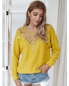 Dresswel Women Cutout Stitching Crew Neck Long Sleeve Sweater Casual Fashion Solid Tops