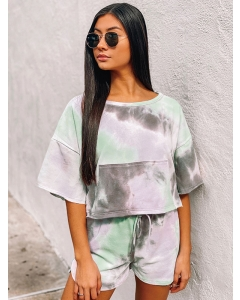 Dresswel Women Tie Dye Printed Short Sleeve T-Shirts Shorts Set Pajama Casual Home Wear
