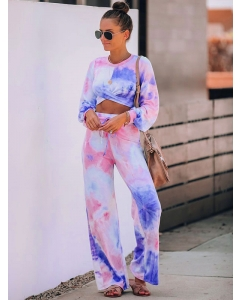 Dresswel Women Tie Dye O Neck Long Sleeves Cropped Tops Wide-leg Pants 2 Pieces Outfits