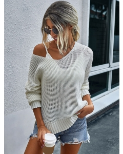 Dresswel Women V Neck Long Sleeves Solid Color Sweater Bottoming Knitwear Tops