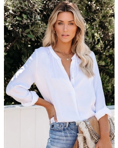Dresswel Women V Neck Button Shirt Solid Color Long Sleeves Blouse Classic Tee Tops