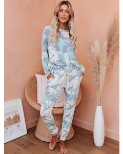 Dresswel Women Tie-dyed Print Long Sleeves Pullover Sweatshirt Pants 2 Pieces Outfit