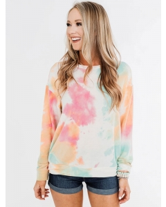 Dresswel Women Tie Dye Color Block Pullover Round Neck Stylish Casual Blouse Tops