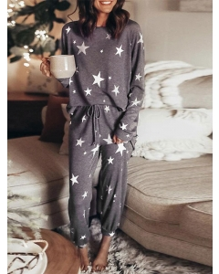 Dresswel Women Stars Print Long Sleeve Tops and Pants 2Pcs Casual Sleepwear Outfits