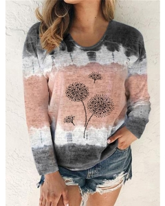 Dresswel Women Tie Dye Print Dandelion Graphic Blouse Color Block Tops Shirts
