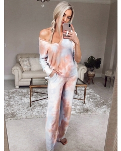 Dresswel Women Long Sleeve V Neck Tie Dye Suit Casual Two Piece Homewear