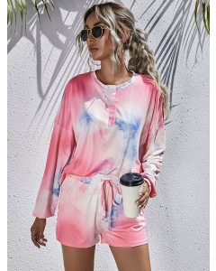 Dresswel Women Tie Dye Print Button Long Sleeve and Lacing Shorts Loungewear Set