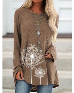 Dresswel Women Crew Neck Dandelion Graphic Tunic Tops Long Sleeve Trendy T Shirts