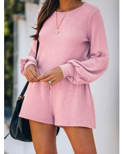Dresswel Women Solid Color Long Sleeve Blouse and Lacing Shorts Loungewear Sets