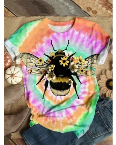 Dresswel Women Bee Graphic Tie Dye Printed Crew Neck Short Sleeve Casual T-Shirts Fashion Tops