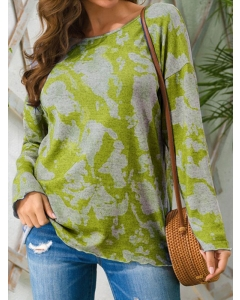 Dresswel Women Tie Dye Printed Long Sleeve Blouse Color Block Knitted Pullover