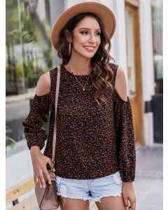 Dresswel Women Leopard Print Cold Shoulder T Shirts Long Sleeve Blouse Tops