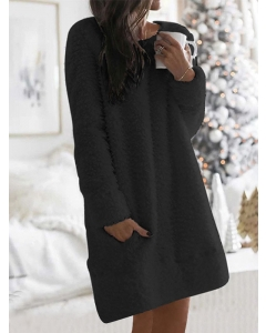 Dresswel Women Solid Color Long Sleeve Round Neck Casual Pocket Plush Dress